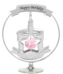 "Birthday Cake with ""Happy Birthday"" Mobile Stand w/Swarovski Element Crystal"
