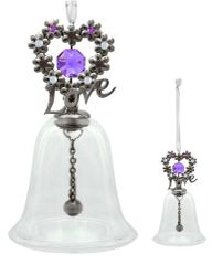Blooming Love Glass Bell Ornament w/Swarovski Element Crystal