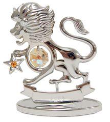 Chrome Plated Zodiac (Leo) on Stand with Swarovski Element Crystal