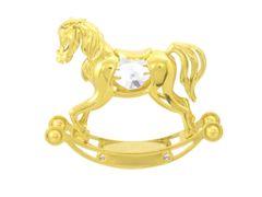 Gold Plated Rocking Horse Free Standing w/Swarovski Element Crystal