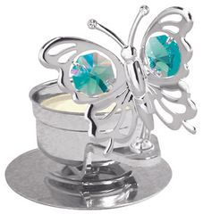 Mini Butterfly T-Lite Holder w/Swarovski Element Crystal