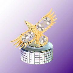 Gold Plated Bald Eagle Mirror Base Music Box w/Swarovski Element Crystal