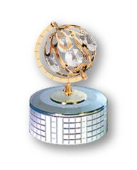 Gold Plated Small Spinning Global Music Box w/Clear Swarovski Element Crystal