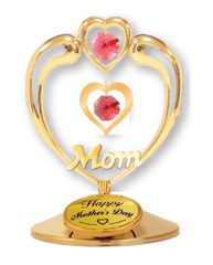 "Happy Mother's Day - ""Mom"" in Heart on Stand w/Red Swarovski Element Crystals"