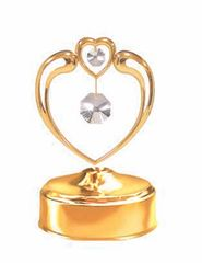 Gold Plated Crystal in Heart Music Box w/Clear Swarovski Element Crystal