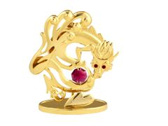 Gold Plated Chinese Zodiac - Dragon w/Red Swarovski Element Crystal