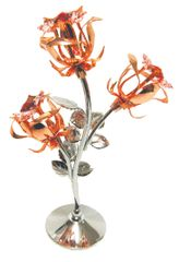Rose Gold Plated 3 Roses on Stand w/Swarovski Element Crystal
