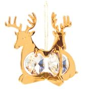 Gold Plated Twin Deer Ornament w/2 Clear Swarovski Element Crystal