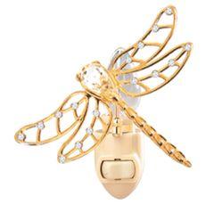 Gold Plated Dragonfly Night Light w/Swarovski Element Crystal