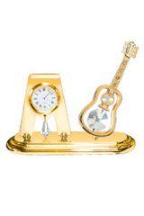 Gold Plated Guitar Desk Clock w/Swarovski Element Crystal