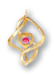 Gold Plated Hot Air Balloon Spiral Ornament w/Red Swarovski Element Crystal