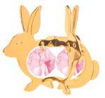 Gold Plated Twin Rabbit Ornament w/2 Pink Swarovski Element Crystal
