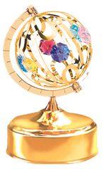 Spinning Global Music Box w/ Swarovski Element Crystal