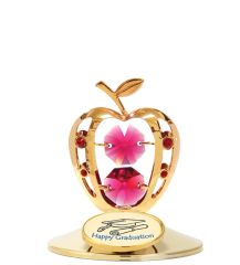 "Gold Plated Apple w/""Happy Graduation"" on Stand w/Swarovski Element Crystal"