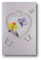 (Set of 6) Premium Quality Assorted Heart Shape Paper Quilling Cards w/envelopes