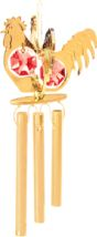 Gold Plated Rooster Twins Wind Chime w/Red Swarovski Element Crystal