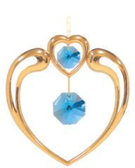 Gold Plated Crystal in Heart Ornament w/Swarovski Element Crystal