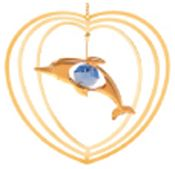 Gold Plated Dolphin in Heart Ornament w/Blue Swarovski Element Crystal