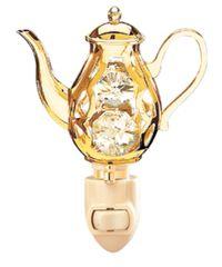 Gold Plated Coffe Pot Night Light w/Swarovski Element Crystal