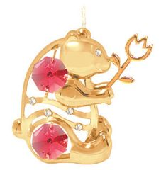 Gold Plated Bear w/ Tulip Ornament w/Swarovski Element Crystal