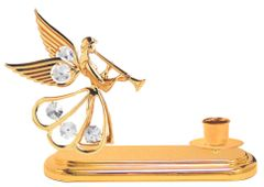 Gold Plated Angel w/Trumpet Deluxe Tapered Candle Holder w/Swarovski Element Crystal