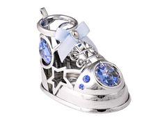 Chrome Plated Baby Shoe Free Standing w/Swarovski Element Crystal