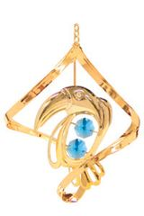 Gold Plated Toucan Spiral Ornament w/Blue Swarovski Element Crystal