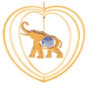 Gold Plated Elephant in Heart Ornament w/Blue Swarovski Element Crystal