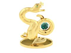 Gold Plated Chinese Zodiac - Snake w/Swarovski Element Crystal