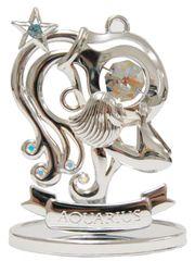 Chrome Plated Zodiac (Aquarius) on Stand with Swarovski Element Crystal