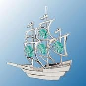 Chrome Plated Sailboat Ornament w/Green Swarovski Element Crystal