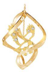 Gold Plated Eagle Spiral Ornament w/Swarovski Element Crystals