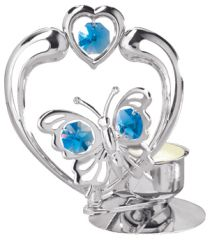 Butterfly with Heart T-Lite w/Blue Swarovski Element Crystal