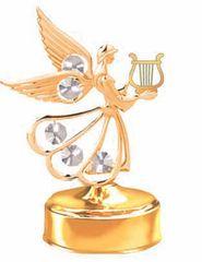 Gold Plated Angel w/Lyre Music Box w/Clear Swarovski Element Crystal
