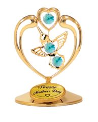 Happy Mother's Day - Hummingbird in Heart on Stand w/Green Swarovski Element Crystals