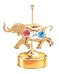 Gold Plated Carousel Elephant Music Box w/Mixed Swarovski Element Crystal