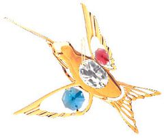Gold Plated Curvd Beak H-Bird Ornament w/Swarovski Element Crystal