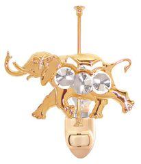 Gold Plated Carousel Elephant Night Light w/Swarovski Element Crystal