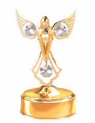 Gold Plated Praying Angel Music Box w/Clear Swarovski Element Crystal