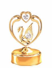 Gold Plated Swan in Heart Music Box w/Clear Swarovski Element Crystal