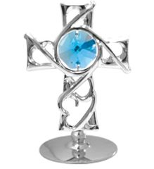 Chrome Plated Thorns Cross on Stand w/Swarovski Element Crystal
