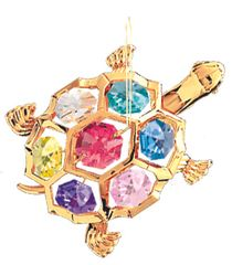 Gold Plated Turtle Ornament w/Mixed Swarovski Element Crystal