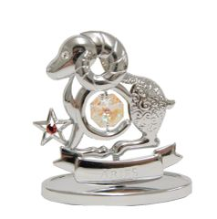 Chrome Plated Zodiac (Pisces) on Stand with Swarovski Element Crystal