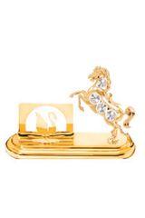 Gold Plated Horse Card Holder w/Clear Swarovski Element Crystal