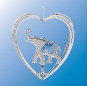 Chrome Plated Elephant in Heart Ornament w/Blue Swarovski Element Crystal