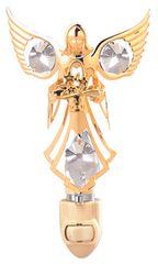 Gold Plated Angel w/Flowers Night Light w/Swarovski Element Crystal