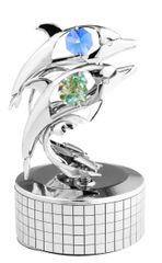 Chrome Plated Twin Dolphins Music Box w/Swarovski Element Crystal