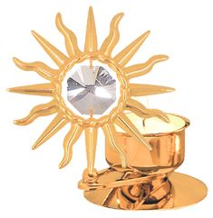 Gold Plated Large Sunburst T-Lite w/Swarovski Element Crystal