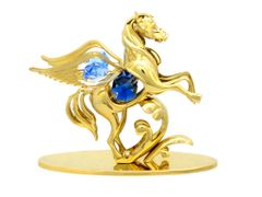 Gold Plated Pegasus on Stand w/Swarovski Element Crystal