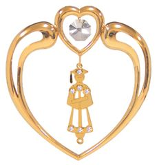 Gold Plated Graduation Icon in Heart Sun Catcher w/Swarovski Element Crystal